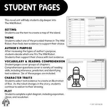 The Wild Robot Novel Study Literature Guide: 2 Formats: Booklet & Single Pages