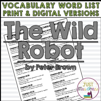 The Wild Robot Vocabulary Word List