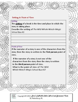 The Wild Whale Watch-MSB #3 Unit with Literary and Grammar Activities