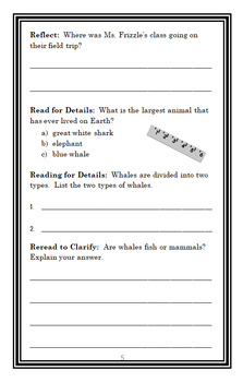 The Wild Whale Watch (Magic School Bus) Novel Study / Comprehension  (22 pgs)