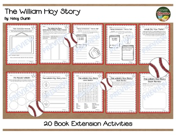 The William Hoy Story By Nancy Churnin 20 Book Extension Activities NO PREP