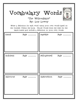 """""""The Willoughbys"""", by L. Lowry, Vocabulary Word Packet"""