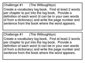 """""""The Willoughbys"""", by Lois Lowry, Challenges to go with the book"""