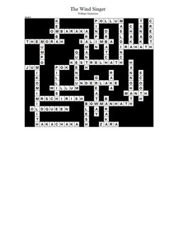 The Wind Singer - Crossword Puzzle