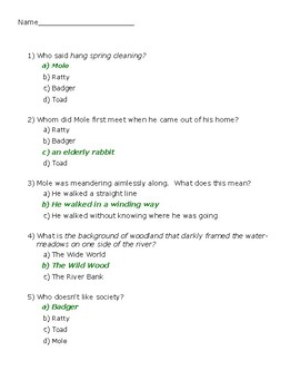 The Wind in the Willows Ch. 1 Quiz