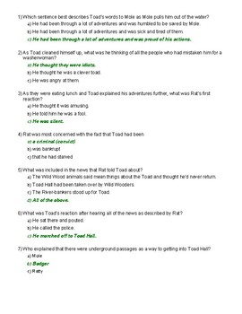 The Wind in the Willows Ch. 11 Quiz