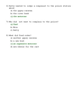 The Wind in the Willows Ch. 2 Quiz