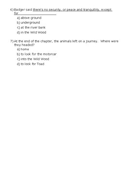 The Wind in the Willows Ch. 4 Quiz