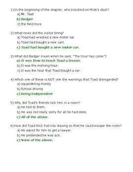 The Wind in the Willows Ch. 6 Quiz