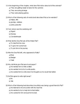The Wind in the Willows Ch. 9 Quiz