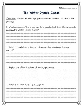 The Winter Olympic Games Reading Comprehension and Vocabulary--Olympics 2018