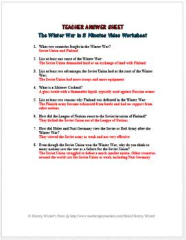 The Winter War in 3 Minutes Video Worksheet