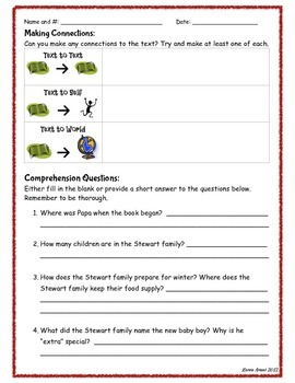 The Winter of Red Snow Comprehension Packet