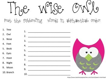 The Wise Owl-Alphabetize