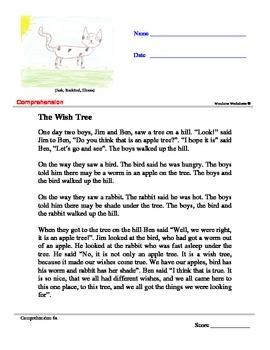 The Wish Tree - Comprehension Worksheet by WondrousWorksheets.com