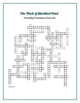 The Witch of Blackbird Pond: Prereading Vocab Crossword—Great Prep for the Book!