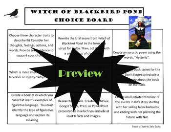 The Witch of Blackbird Pond Choice Board Choice Board Novel Study Menu Project