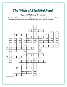 The Witch of Blackbird Pond: Synonym/Antonym Vocab Xword—Fun!