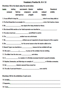 The Witch of Blackbird Pond Vocabulary Activities Ch. 9 + 10