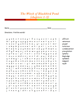 The Witch of Blackbird Pond word search