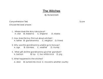 The Witche by Ronald Dahl Final Comprehension Test