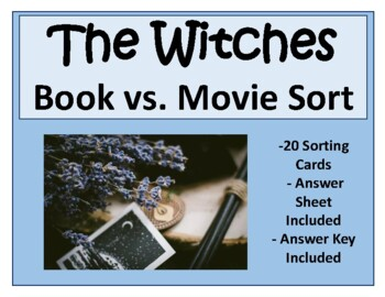 The Witches Book vs. Movie Task Card Sort