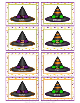 Noun Sorting Game with Worksheet - Witches