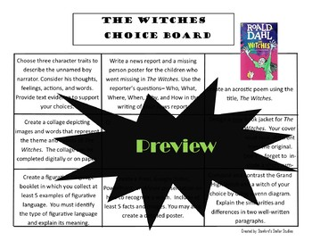 The Witches Choice Board Novel Study Activities Menu Book Project Rubric