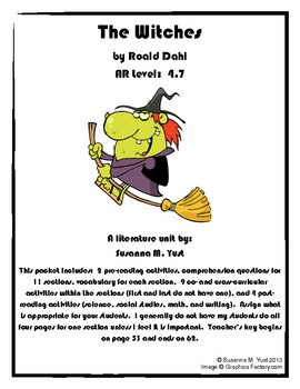 The Witches Reading Comprehension Guide & Literature Unit