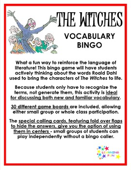 The Witches Vocabulary Bingo