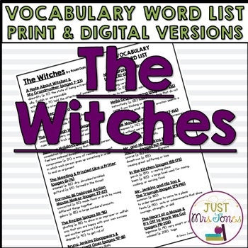 The Witches Vocabulary Word List