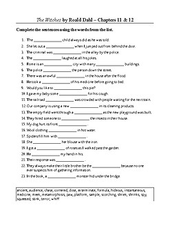 The Witches - Word Search and Vocabulary Exercise Chapters 11-12