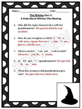 The Witches by Roald Dahl 4 Weeks of Quizzes