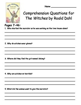 The Witches by Roald Dahl Comprehension Packet