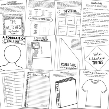 The Witches Novel Unit Study Activities, Book Companion Worksheets, Project