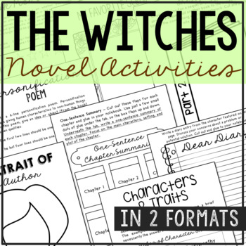 The Witches by Roald Dahl Novel Unit Study Activities, Wor