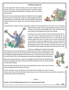 The Witches - by Roald Dahl - Reading Comprehension