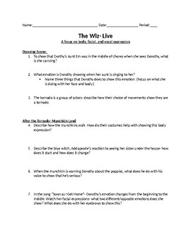 The Wiz Live- Movie Worksheet by Lin Goodwin's Middle School Drama
