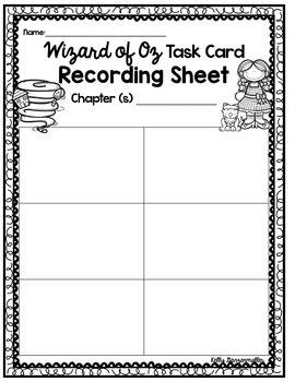 The Wizard of Oz: Task Cards for each chapter