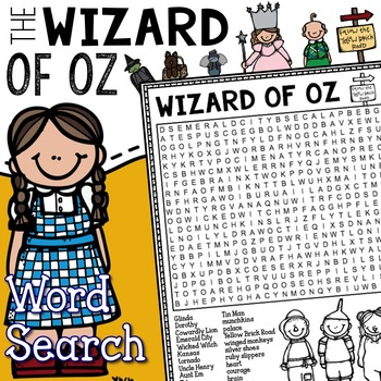 Wizard Of Oz Word Search Worksheets Teaching Resources TpT