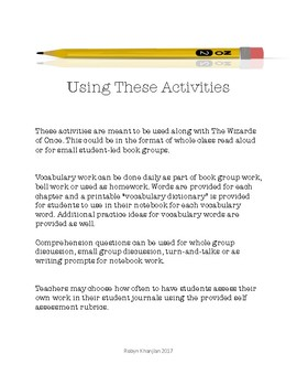 The Wizards of Once Book Group Vocabulary and Comprehension Activities
