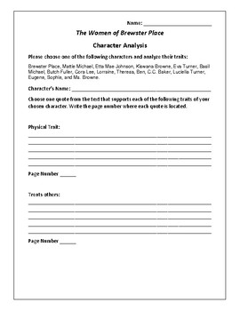 The Women of Brewster Place Character Analysis Activity - Gloria Naylor
