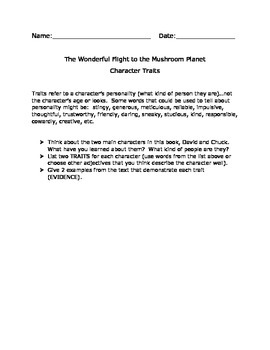 The Wonderful Flight to the Mushroom Planet Character Traits Activity