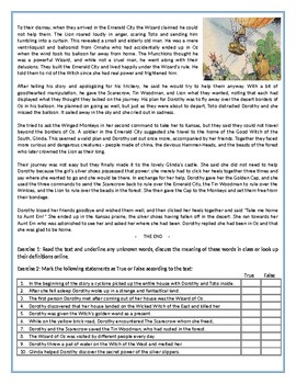 The Wonderful Wizard of Oz - The story / Reading Comprehension Worksheet
