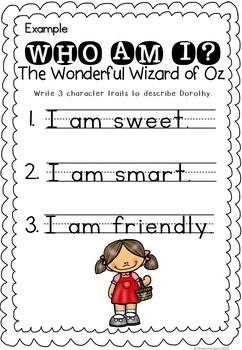 The Wonderful Wizard of Oz- Who am I Activities - Character Traits