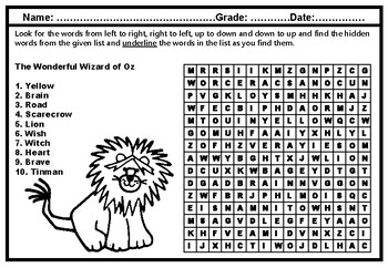 The Wonderful Wizard of Oz, Word Search, Grade 1, Literature Vocabulary Sub Plan