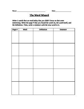The Word Wizard Worksheet