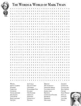 The Words & World of Mark Twain Word Search Puzzle