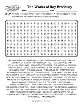 The Works of Ray Bradbury Word Search (Answer Key included)