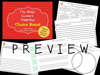 The World According to Humphrey Reading and Writing Response Choice Board